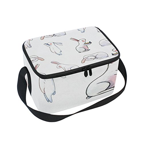 ALAZA Rabbit Bunny Watercolor Insulated Lunch Bag Tote Bag C