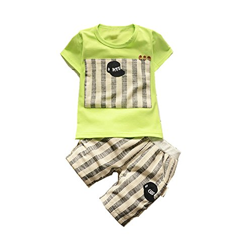ftsucq-little-boys-girls-hat-striped-pattern-shirt-top-two-pieces-shorts-setsgreen-100