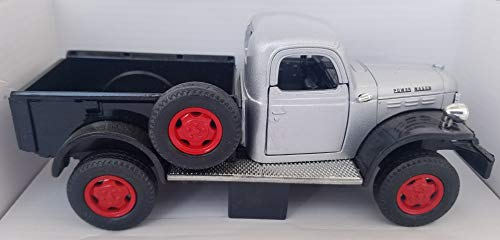 1946 Approximately Dodge Power Wagon with Spare Tire on Side Approximately 1:24 Silver with Black Bed Includes Plastic Display Case