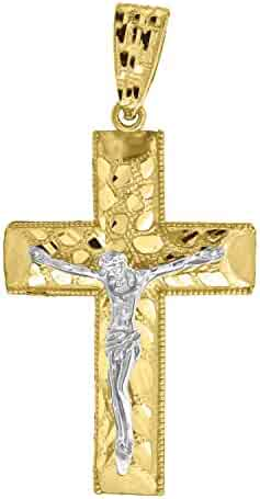 Religious Charm Pendant Jewels By Lux 10k Yellow Gold CZ Cubic Zirconia Unisex Cross Ht:26mm x W:14mm