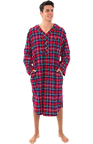 Alexander Del Rossa Mens Flannel Nightshirt, 100% Cotton Long Sleep Shirt, Medium Blue Red and Green Plaid (A0542Q19MD)