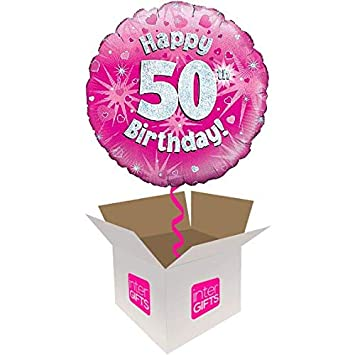 InterBalloon Helium Inflated Happy 50th Birthday Pink Holograpic Balloon Delivered In A Box