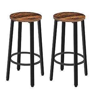 HOOBRO Chaises de Bar, Lot de 2 Tabourets Hauts, Sièges Ronds, Hauteur 62,5 cm, Style Industriel, Cadre en Métal, avec…