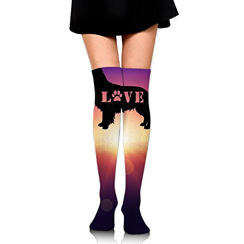 WRE8577 Women's Knee High Compression Thigh High Socks Golden Retriever Love Dog Paw For Football Sport Long (Sad Dogs In Costumes)