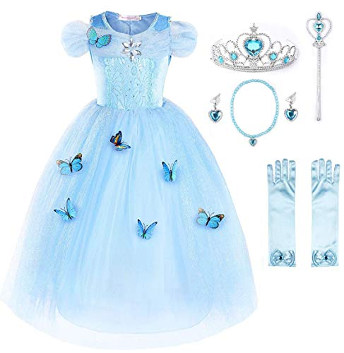 New Cinderella Dress Princess Costume Butterfly Girl (Sky Blue with Accessories-6, 7 Years) -