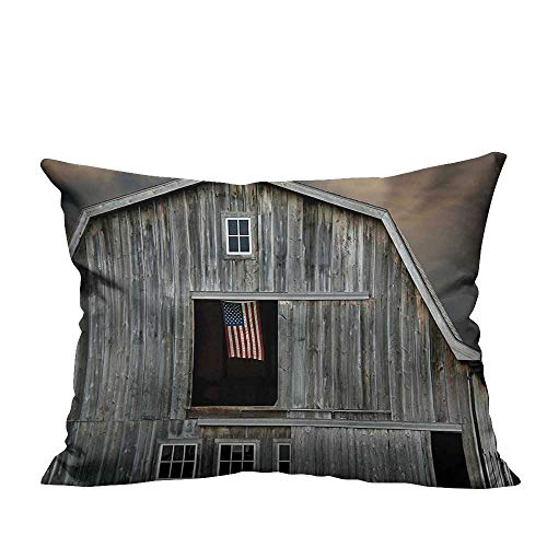 YouXianHome Super Soft Pillowcase American Flag Fly W dow Wooden Old House Dark Even View Beige Resists Wrinkles(Double-Sided Printing) 19.5x54 inch