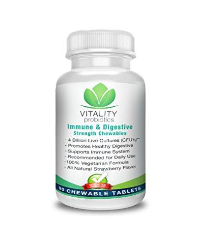 Probiotic Immune & Digestive Strength Chewables 90ct. 4 billion CFUs**/Serving.Tasty All Natural Strawberry Flavor. 100% Vegetarian & Preservative Free by Vitality probiotics