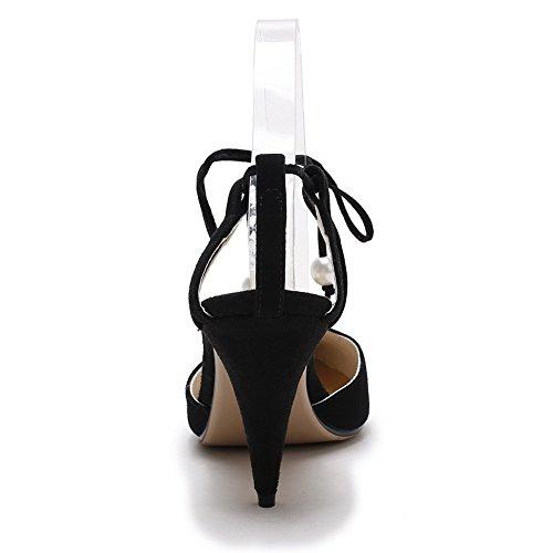 Amoonyfashion Donna Imitato Sandalo Tacco Alto In Pelle Scamosciata Con Tacco Vertiginoso Bianco