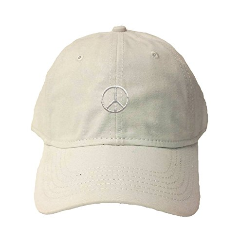 Go All Out Adjustable White Adult Peace Sign Embroidered Deluxe Dad Hat