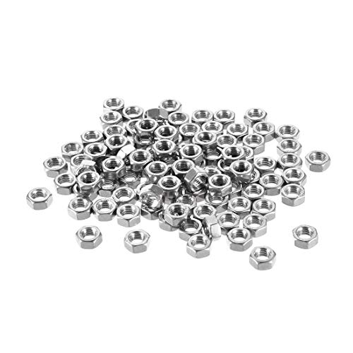 uxcell Hex Nuts, M5x0.8mm Metric Coarse Thread Hexagon Nut, Stainless Steel 304, Pack of 100