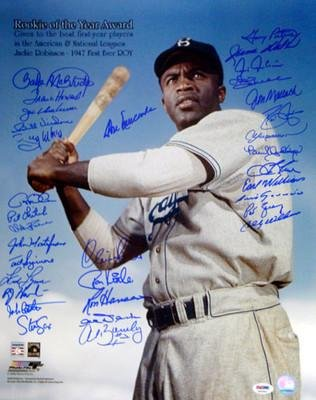 Rookies of the Year Multi Signed Autographed 16x20 Jackie Robinson Photo (33 Signatures) Billy Williams, Andre Dawson & Luis Aparicio - PSA/DNA Certified