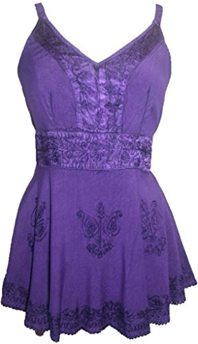 [121 B Agan Traders Medieval Vintage Top Blouse (Purple, XL/1X)] (Gypsy Clothing Costume)