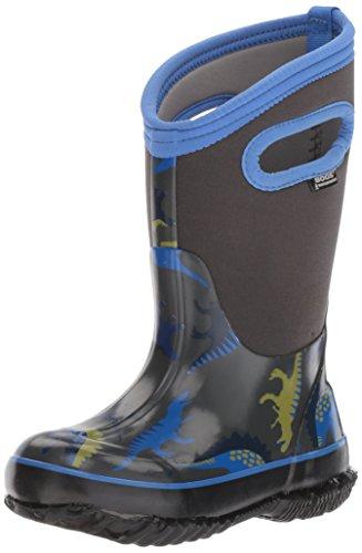 Bogs Unisex-Kids Boys Classic Prints Waterproof Insulated Snow Boot, Dino Dark Gray Multi, 12 M US Little Kid by Bogs