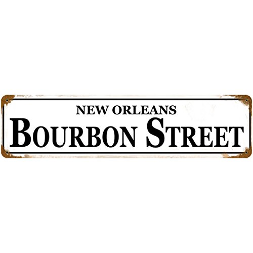- New Orleans Bourbon Street Metal Bar Sign