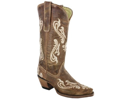 Corral Womens Cleff Embroidery Western Boots Brown Cortez