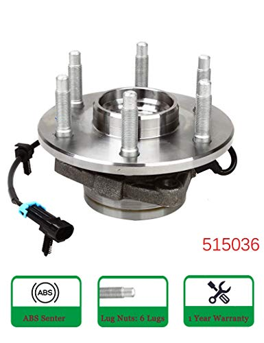 BLACKHORSE-RACING 515036 Front Wheel Hub & Bearing w/ABS Assembly 6 Lugs for Chevy GMC Pickup Truck 4X4 4WD AWD