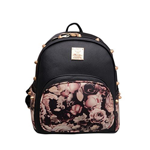 Respctful Backpack for Girls Fashion Floral Printing School Bags (BlackA)