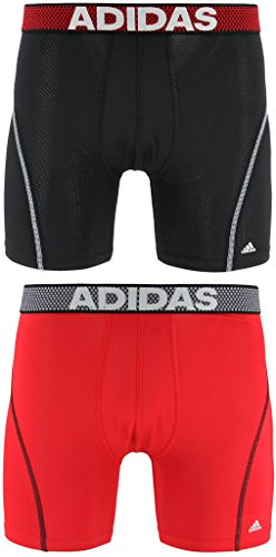 adidas Men's Sport Performance Climacool Boxer Brief Underwear (2-Pack), (Black/Grey)/(Real Red/Black), (Lined Spandex Briefs)