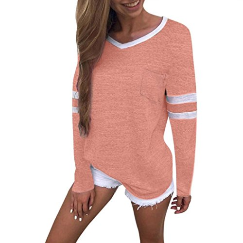 DEATU Women Summer Comfy Simple Casual V Neck Long Sleeve Pocket Blouse Tops T Shirt (M, (Free Knitting Pattern Baby Dress)