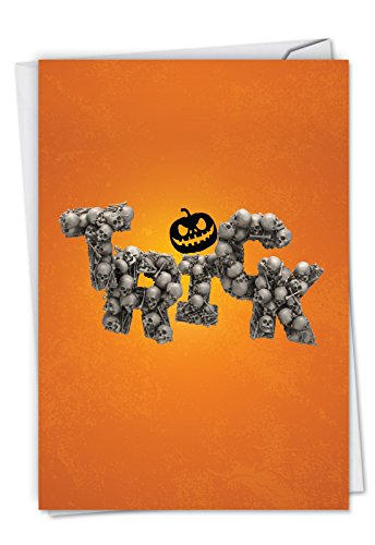 C6123EHWG Halloween in Skull Font: Hilarious Halloween Greeting Card Featuring an Image of Dreadful Words formed with Bones,, with Envelope.