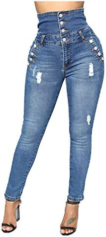 OutTop Women High Waisted Jeans for Women Button Fashion Ripped Skinny Denim Pants w/Pocket Tommy Control
