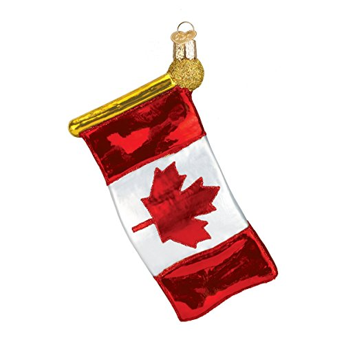 Old World Christmas Canadian Flag Glass Blown Ornament