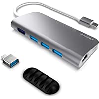 USB C Hub, USB-C Adapter, 8 in 1 Thunderbolt 3 Dock, Multiport dongle to 3 USB 3.0 Ports pd, 4K HDMI, Ethernet Ports, Micro SD/TR Card Reader MacBook Pro 2016/2017, chromebook, Type-C laptops