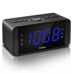 "Digital Alarm Clock, Axmda Alarm Clocks Bedrooms, Dual Alarm Clock Snooze Function, FM Radio Sleep Timer, Large 4.5"" LED Display Dimmer, Battery Backup (Battery not Included), Blue"