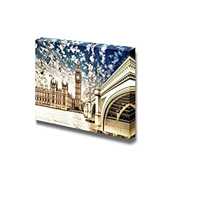 Beautiful Scenery Landscape Big Ben and Palace of Westminster with Bridge and Thames London - Canvas Art Wall Art - 24