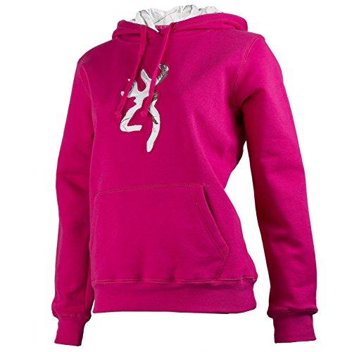 Browning Women's Buckmark Realtree Camo Sweatshirt Hoodie Fuchsia (Medium)