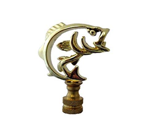 Lamp Finial - Angler Bass Fish - Bright Brass Finish