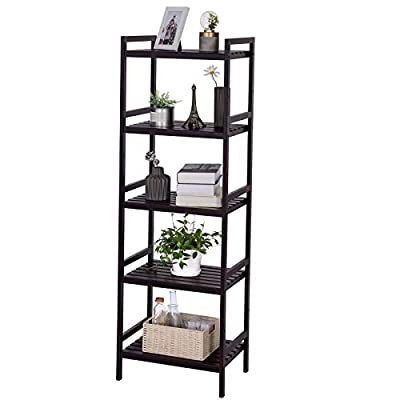 SONGMICS Adjustable Storage Shelf Rack, 5-Tier Multifunctional Shelving Unit Stand Tower, Bookcase for Bathroom Living Room Kitchen 17.7 x 12.4 x 55.9, Holds up to 132 lb Bamboo Brown UBCB75BR