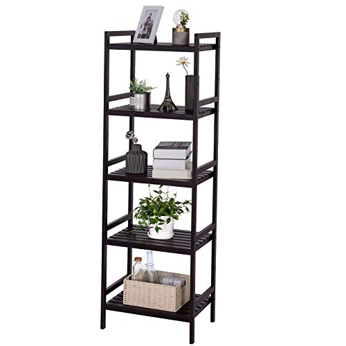 (SONGMICS Adjustable Storage Shelf Rack, 5-Tier Multifunctional Shelving Unit Stand Tower, Bookcase for Bathroom Living Room Kitchen 17.7 x 12.4 x 55.9 inches, Holds up to 132 lb, Brown UBCB75BR)