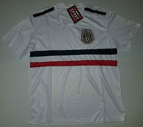 Soccer Men's White Mexico 2018 Replica Jersey (Large) (Azul Cruz World Cup)