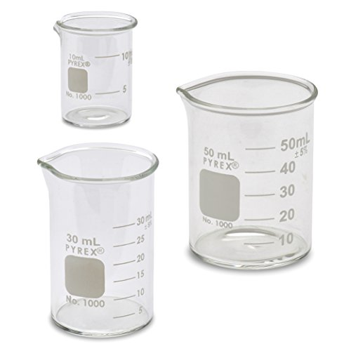 Corning Pyrex® #1000 Griffin Low Form, Micro Glass Beaker Set - 3 Sizes - 10ml, 30ml, 50ml
