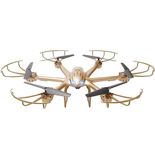 GizmoVine MJX de 6-EJES Cuadcóptero X601H 4 Canales de 2.4Ghz Dron RTF RC con Modo Headless Una Tecla de Retorno Automático Función de Giro 3D FPV HD Transmisión VR 3D Nueva Experiencia Color Dorado