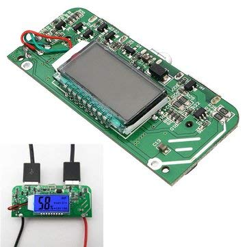 Board & Shield Boost & Buck Module - K6-PCBA 5V 2.1A 1A Dual USB 3V to 5V Module Board for 18650 Battery with LED Screen Display -1 xK6-PCBA DIY Mobile Power PC