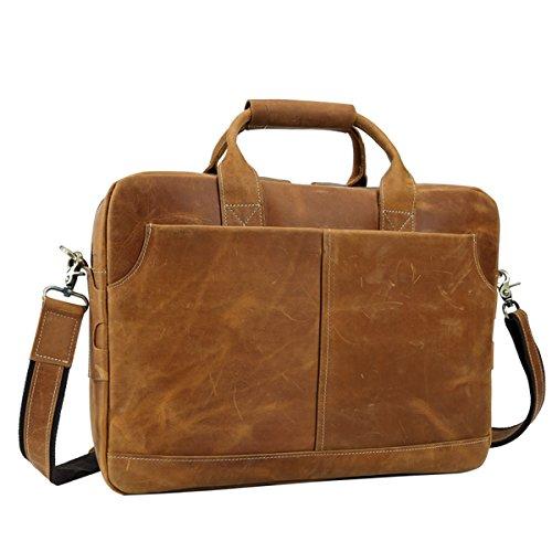 Tiding Vintage Genuine Leather Messenger Bag for Laptop large Capacity Briefcase Satchel Bag Courier Bag Office/School Bag Crossbody