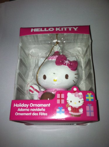 Hello Kitty Holiday Ornament Sitting with Candy Cane