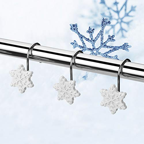 FITNATE 12PCS Anti-Rust Snowflake Shower Curtain Hooks for Winter, Thanksgiving, Christmas, Resin Decorative Curtain Hooks Used in Bathroom, Bedroom and Living Room, White, Gift Set