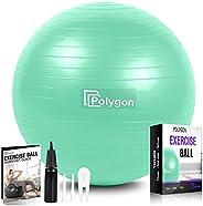 Polygon Exercise Ball, Professional Grade Anti-Burst Balance Ball for Yoga, Birthing, Stability, Core Exercise