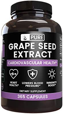 100 Pure Grape Seed Extract, 365 Capsules, 400 mg Serving, No Magnesium or Rice Fillers, Non-GMO, Made in The USA, Natural Source Gluten-Free with No Additives