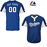 Majestic Royal/White 2-Button Cool-Base Los Angeles Dodgers Blank or Custom Back (Name/#) MLB Officially Licensed Baseball Placket Jersey