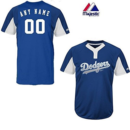 Majestic CUSTOM Adult 3XL Los Angeles Dodgers 2-Button Placket Cool-Base MLB Licensed Jersey