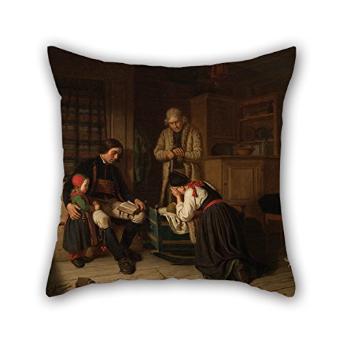 Bestseason 16 X 16 Inches / 40 By 40 Cm Oil Painting Amalia Lindegren - Lillans Sista Bädd ('The Last Bed Of The Little One') Cushion Covers 2 Sides Is Fit For Father Boy Friend Family Club Kitche