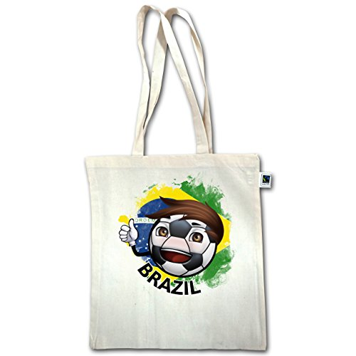 Shirtracer Fußball-Weltmeisterschaft 2018 - Fußballjunge Brasilien - Unisize - Natural - XT600 - Jutebeutel lange Henkel 3XdifuVC1q