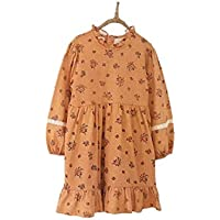 Lilipurri - Vintage Beige Floral Casual Dress Outwear for Girls