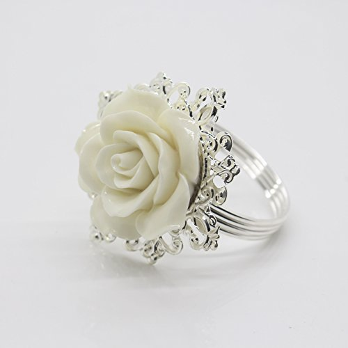 White Rose Ring - AngHui ShiPin 10pcs White Rose Decorative Silver Napkin Ring Serviette Holder for Wedding Party Dinner Table Decor Many Color Available