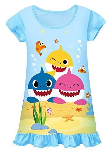 AOVCLKID Toddler Girls Baby Princess Pajamas Shark Cartoon Print Nightgown Dress (Light Blue 2,110/3-4Y)