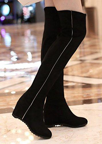 Aisun Donna Alla Moda Punta Tonda Ascensore Mid Heel Nascosto Zeppa Slip On Sopra Il Ginocchio Scarpe Alte Alte Scarpe Nere